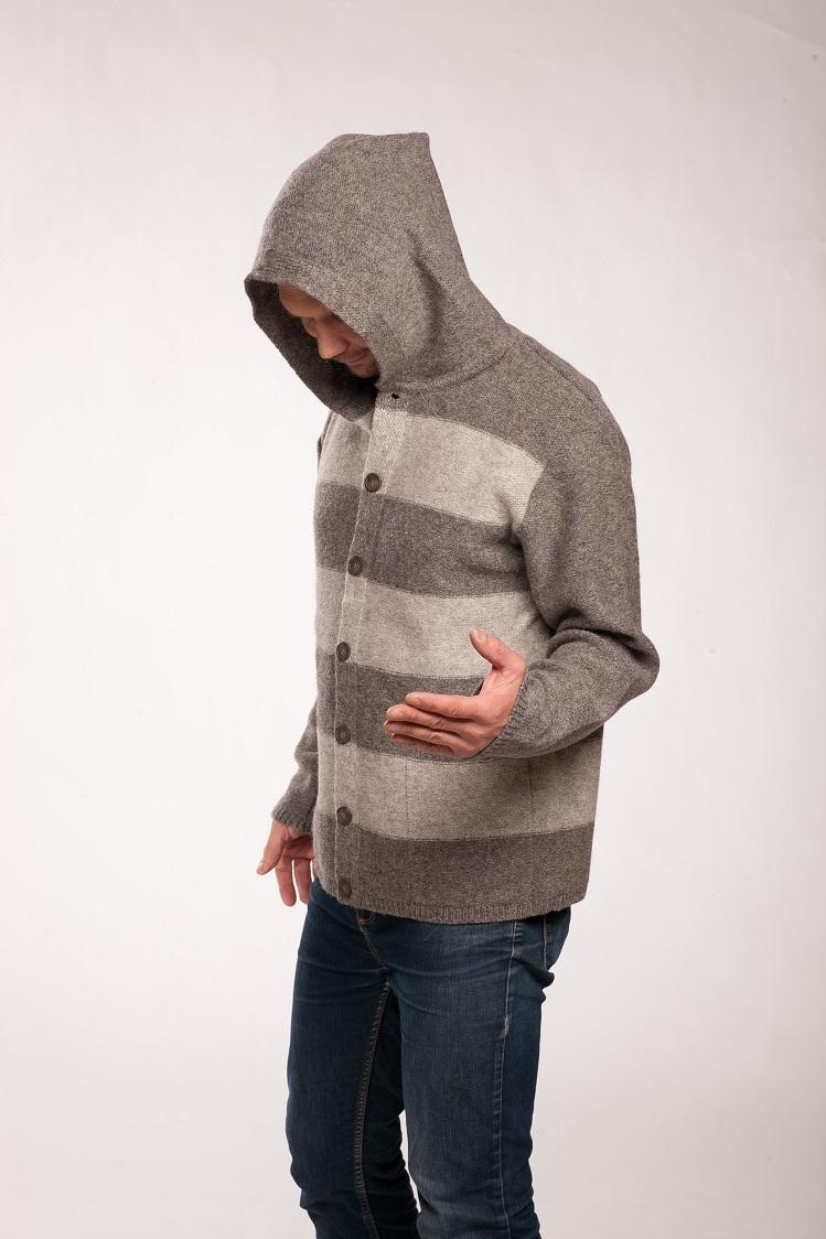 Jacket Robin With Stripes Tneslv Adjumi No Dabgiem Materiliem Knit Hoodie Fingerless Maroon Men Tines Knitwear 3 1